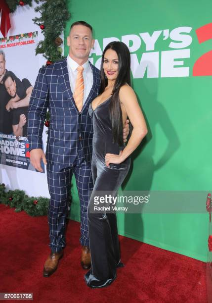 John Cena and Nikki Bella attend the Los Angeles Premiere of 'Daddy's Home 2' at Regency Village Theatre on November 5 2017 in Westwood California