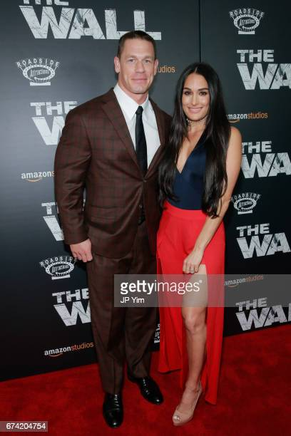 John Cena and Nikki Bella attend the premiere of 'The Wall' at Regal Union Square Theatre Stadium 14 on April 27 2017 in New York City