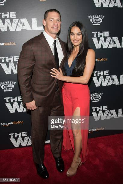 John Cena and Nikki Bella attend 'The Wall' World Premiere at Regal Union Square Theatre Stadium 14 on April 27 2017 in New York City