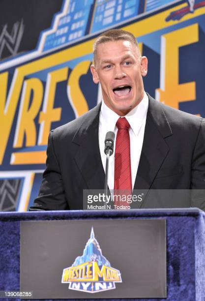John Cena attends a press conference to announce that MetLife Stadium will host WWE Wrestlemania 29 in 2013 at MetLife Stadium on February 16 2012 in...