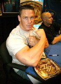 John Cena during John Cena Signs 'WrestleMania 21' DVD and His Rap CD at FYE May 12 2005 at FYE in New York New York United States