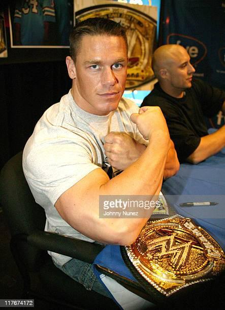 John Cena during John Cena Signs 'WrestleMania 21' DVD and His Rap CD at FYE May 12 2005 at FYE in New York New York United States