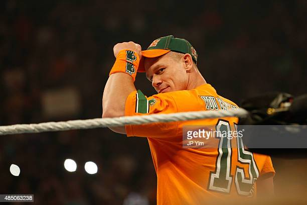 John Cena enters the ring at the WWE SummerSlam 2015 at Barclays Center of Brooklyn on August 23 2015 in New York City