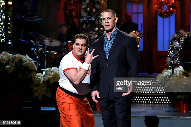LIVE 'John Cena' Episode 1713 Pictured Bobby Moynihan as The Waddler and host John Cena during the monologue on December 10 2016