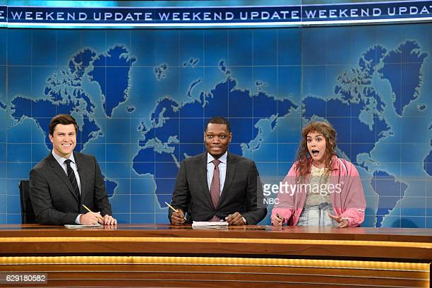 LIVE 'John Cena' Episode 1713 Pictured Colin Jost Michael Che and Cecily Strong as Cathy Anne during Weekend Update on December 10 2016