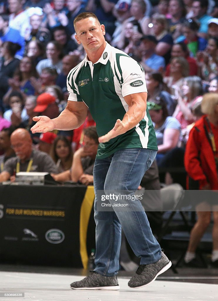 John Cena (Team manager) in the Jaguar Landrover Challenge wheelchair rugby match at the Invictus Games Orlando 2016 at ESPN Wide World of Sports on May 11, 2016 in Orlando, Florida. Prince Harry, patron of the Invictus Games Foundation is in Orlando for the Invictus Games 2016. The Invictus Games is the only International sporting event for wounded, injured and sick servicemen and women. Started in 2014 by Prince Harry the Invictus Games uses the power of Sport to inspire recovery and support rehabilitation.