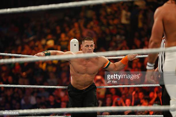 John Cena prepares for his fight against Seth Rollins at the WWE SummerSlam 2015 at Barclays Center of Brooklyn on August 23 2015 in New York City