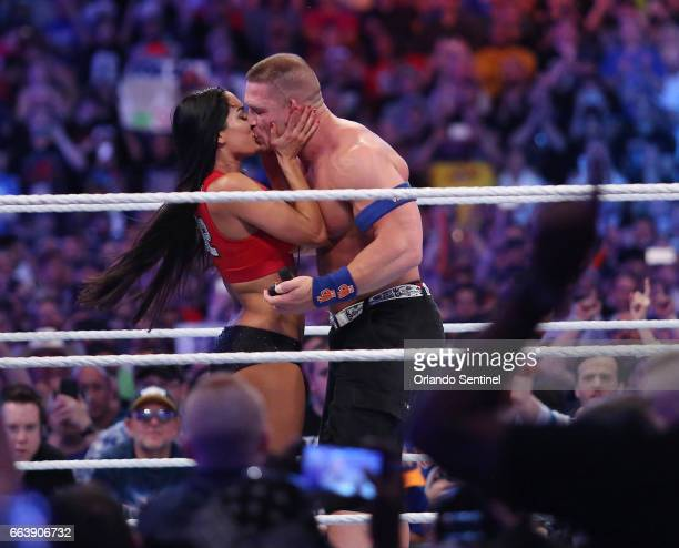 John Cena proposes to Nikki Bella during WrestleMania 33 on Sunday April 2 2017 at Camping World Stadium in Orlando Fla