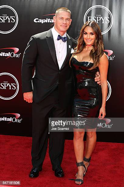 John Cena snd Nikki Bella arrive at The 2016 ESPYS at Microsoft Theater on July 13 2016 in Los Angeles California