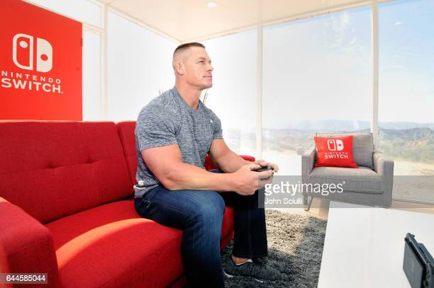 John Cena WWE Superstar hosts Nintendo Switch in Unexpected Places for the Nintendo Switch system on February 23 2017 at Blue Cloud Movie Ranch in...