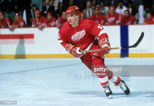 John Chabot of the Detroit Red Wings skates on the ice during an NHL game against the Philadelphia Flyers on February 21 1988 at the Spectrum in...