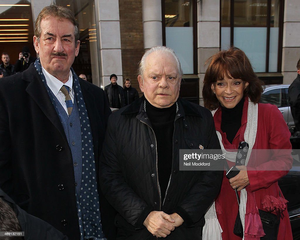 John Challis, David Jason and Sue Holderness attend the funeral of Roger Lloyd-Pack at St Paul's Church in Covent Garden on February 13, 2014 in London, England.