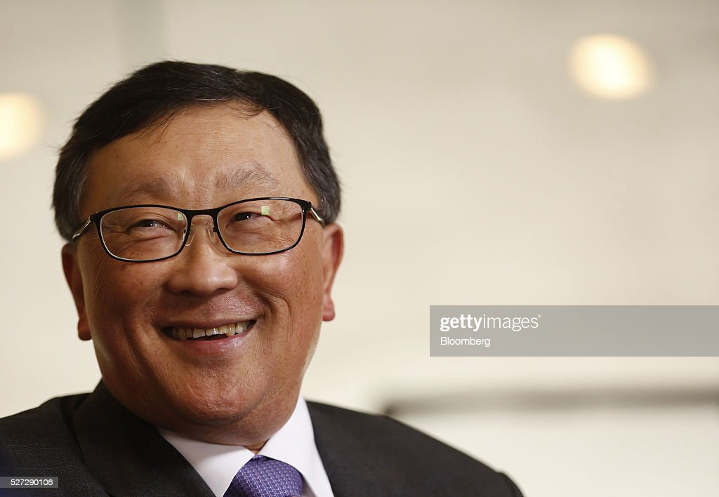 John Chen, chief executive officer of BlackBerry Ltd., smiles during a Bloomberg Television interview at the annual Milken Institute Global Conference in Beverly Hills, California, U.S., on Monday, May 2, 2016. The conference gathers attendees to explore solutions to today's most pressing challenges in financial markets, industry sectors, health, government and education. Photographer: Patrick T. Fallon/Bloomberg via Getty Images