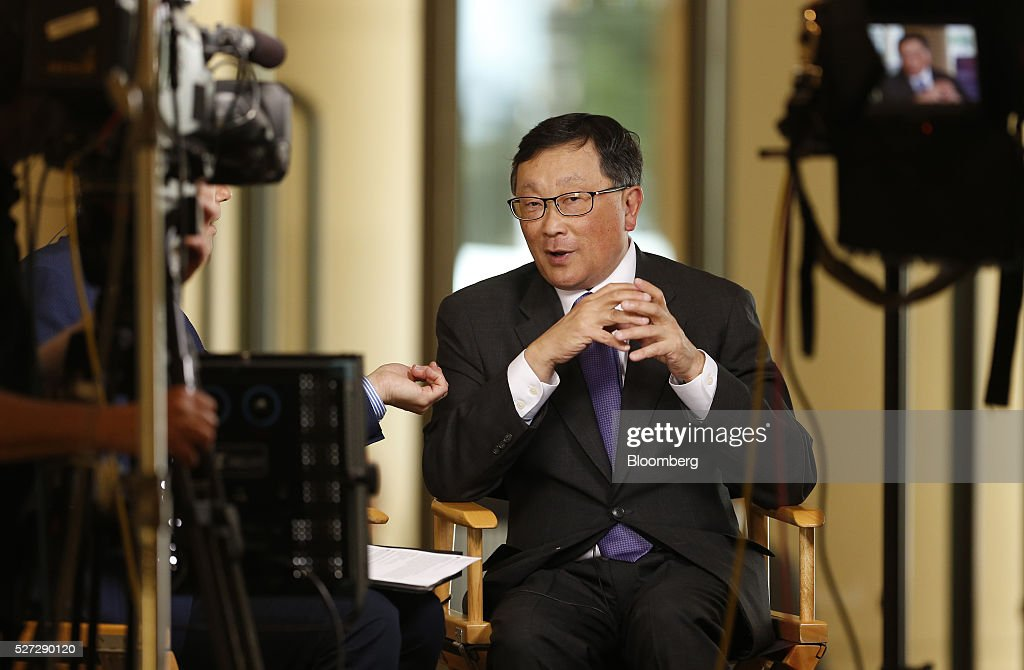 John Chen, chief executive officer of BlackBerry Ltd., speaks during a Bloomberg Television interview at the annual Milken Institute Global Conference in Beverly Hills, California, U.S., on Monday, May 2, 2016. The conference gathers attendees to explore solutions to today's most pressing challenges in financial markets, industry sectors, health, government and education. Photographer: Patrick T. Fallon/Bloomberg via Getty Images