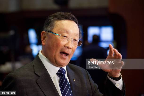 John Chen executive chairman and chief executive officer of BlackBerry Ltd speaks during an interview on the floor of the New York Stock Exchange...