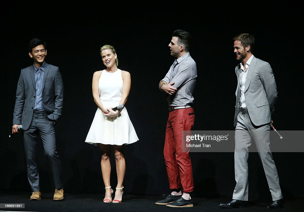 John Cho, Alice Eve, Zachary Quinto and Chris Pine speak onstage at a Paramount Pictures presentation to promote their upcoming film 'Star Trek Into Darkness' held at Caesars Palace during CinemaCon, the official convention of the National Association of Theatre Owners on April 15, 2013 in Las Vegas, Nevada.