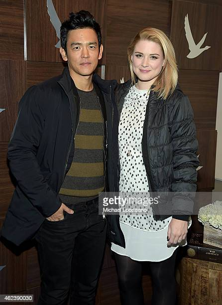 John Cho and Alexandra Breckenridge attend the 'Zipper' cast party at GREY GOOSE Blue Door during Sundance on January 27 2015 in Park City Utah