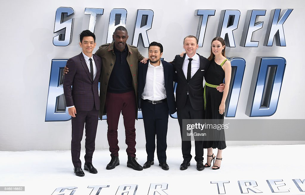 John Cho Idris Elba Justin Lin Simon Pegg and Lydia Wilson arrive for the UK premiere of 'Star Trek Beyond' at Empire Leicester Square on July 12...