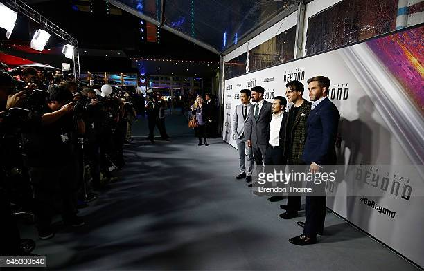John Cho Karl Urban Director Justin Lin Zachary Quinto and Chris Pine arrive ahead of the Star Trek Beyond Australian Premiere on July 7 2016 in...