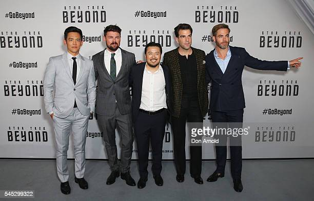 John Cho Karl Urban Justin Lin Zachary Quinto and Chris Pine arrive ahead of the Star Trek Beyond Australian Premiere on July 7 2016 in Sydney...