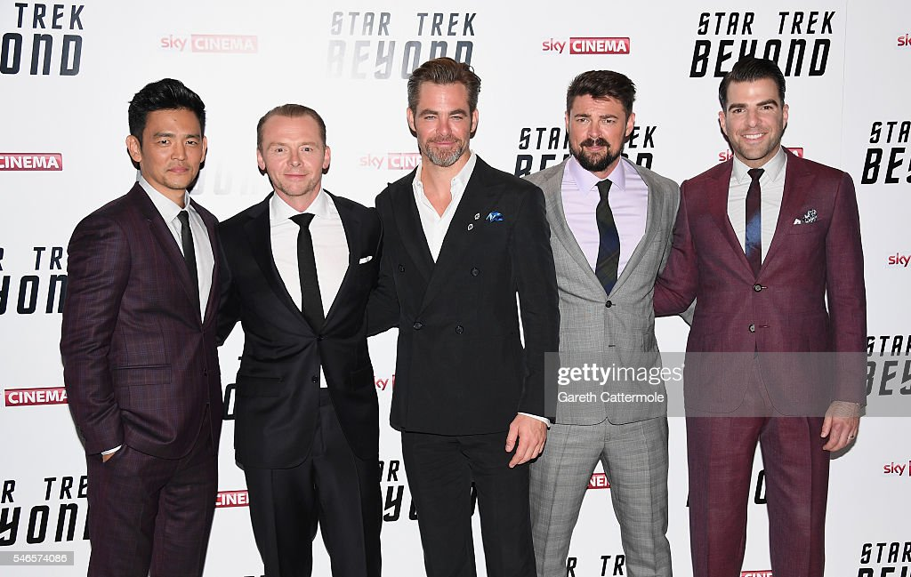 John Cho Simon Pegg Chris Pine Karl Urban and Zachary Quinto attend the UK Premiere of Paramount Pictures 'Star Trek Beyond' at the Empire Leicester...