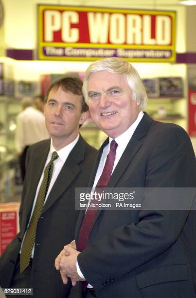 John Clare CEO Dixons Group plc and Finance Director Jeremy Darroch left at one of the group's stores in London ahead of the announcement tomorrow of...