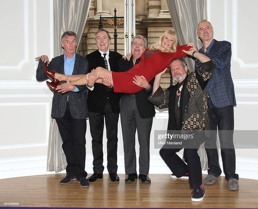 <a gi-track='captionPersonalityLinkClicked' href=/galleries/search?phrase=John+Cleese&family=editorial&specificpeople=211415 ng-click='$event.stopPropagation()'>John Cleese</a>, <a gi-track='captionPersonalityLinkClicked' href=/galleries/search?phrase=Eric+Idle&family=editorial&specificpeople=213355 ng-click='$event.stopPropagation()'>Eric Idle</a>, <a gi-track='captionPersonalityLinkClicked' href=/galleries/search?phrase=Terry+Gilliam&family=editorial&specificpeople=221636 ng-click='$event.stopPropagation()'>Terry Gilliam</a>, <a gi-track='captionPersonalityLinkClicked' href=/galleries/search?phrase=Michael+Palin&family=editorial&specificpeople=208240 ng-click='$event.stopPropagation()'>Michael Palin</a>, <a gi-track='captionPersonalityLinkClicked' href=/galleries/search?phrase=Carol+Cleveland&family=editorial&specificpeople=2003514 ng-click='$event.stopPropagation()'>Carol Cleveland</a> and Terry Jones attend conference to make an announcement about a Monty Python Reunion on November 21, 2013 in London, England.