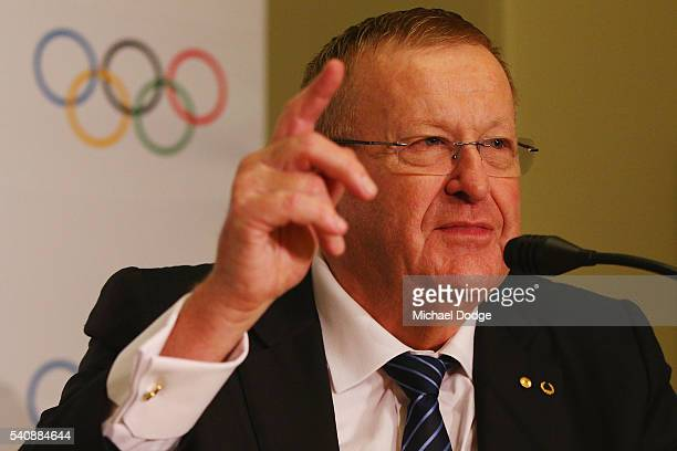 John Coates IOC Vice President speaks to media after Australian athelete Jared Tallent was presented his gold medal at the Old Treasury Building on...