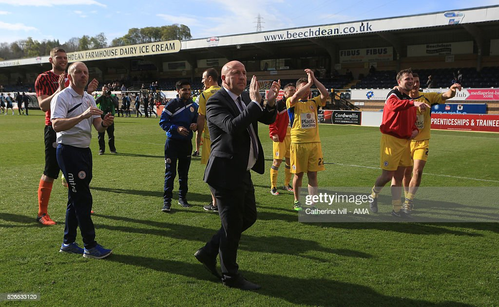 John Coleman manager of Accrington Stanley applauds as he celebrates the win with his team after the Sky Bet League Two match between Wycombe Wanderers and Accrington Stanley at Adams Park on April 30, 2016 in High Wycombe, England.