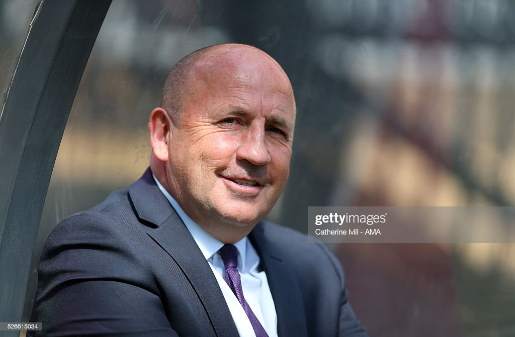 John Coleman manager of Accrington Stanley during the Sky Bet League Two match between Wycombe Wanderers and Accrington Stanley at Adams Park on April 30, 2016 in High Wycombe, England.
