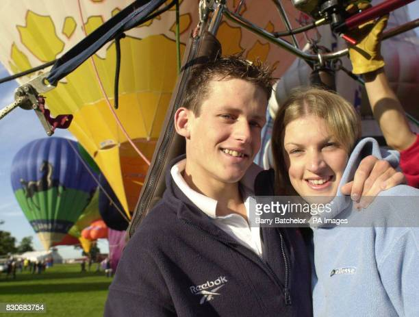 John Collings after proposing marriage to girlfriend Naomi Lonney in a basket at the Bristol International Balloon Fiesta Ashton Court Bristol Up to...