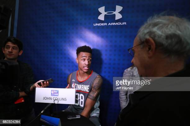 John Collins talks to the media during the NBA Draft Combine at the Quest Multisport Center on May 11 2017 in Chicago Illinois NOTE TO USER User...