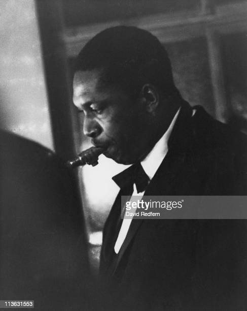 John Coltrane US jazz saxophonist playing the saxophone during a live concert performance in London England Great Britain circa 1960