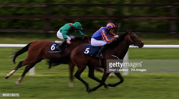 John Constable ridden by Joseph O'Brien on the way to winning the Excelebration Maiden from second place Karezak ridden by Declan McDonogh during the...
