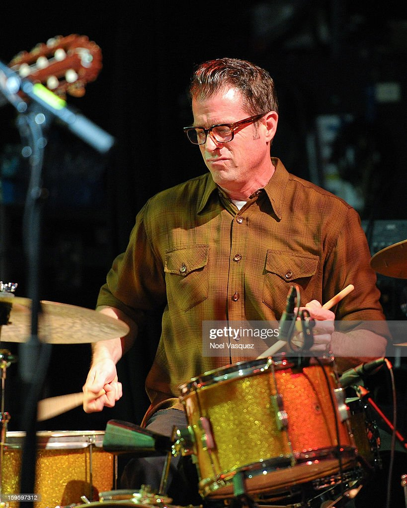 John Convertino of Calexico performs at El Rey Theatre on January 16, 2013 in Los Angeles, California.