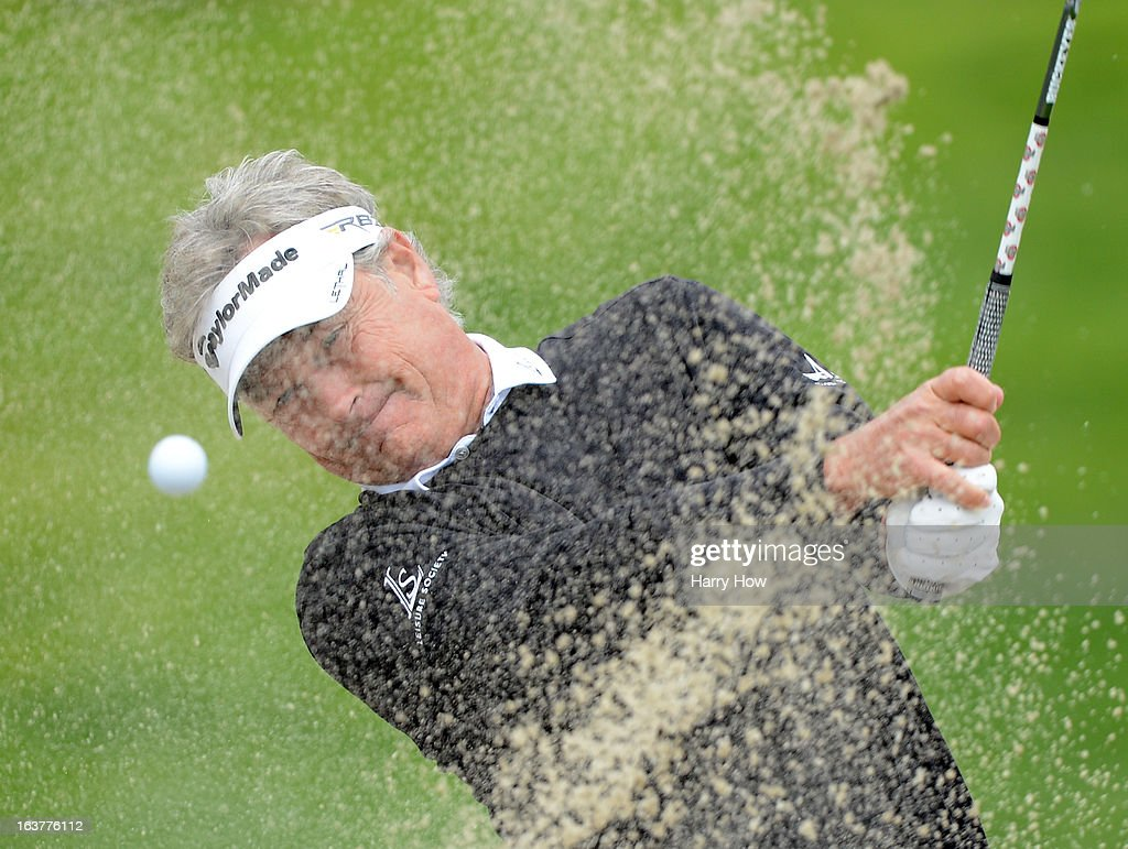 John Cook hits out of a bunker on the fifth hole during the first round of the Toshiba Classic at the Newport Beach Country Club on March 15, 2013 in Newport Beach, California.