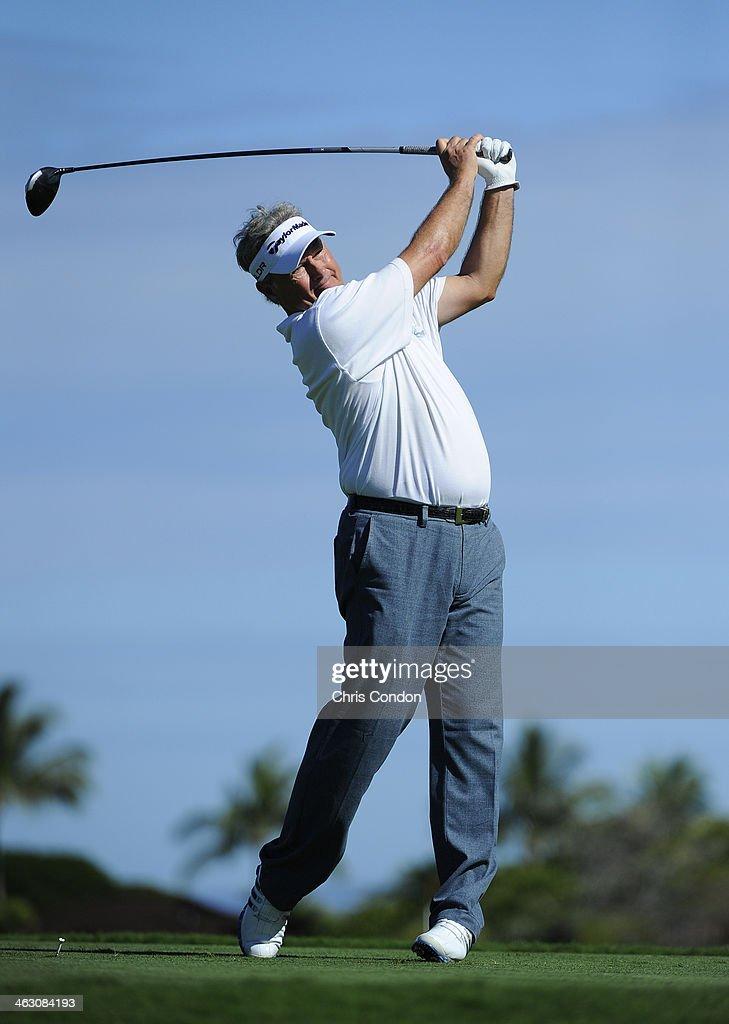 KA'UPULEHU-KONA, HI - JANUARY 16: John Cook plays a shot during the Thursday Pro Am at the Mitsubishi Electric Championship at Hualalai Golf Club on January 16, 2014 in Ka'upulehu-Kona, Hawaii.