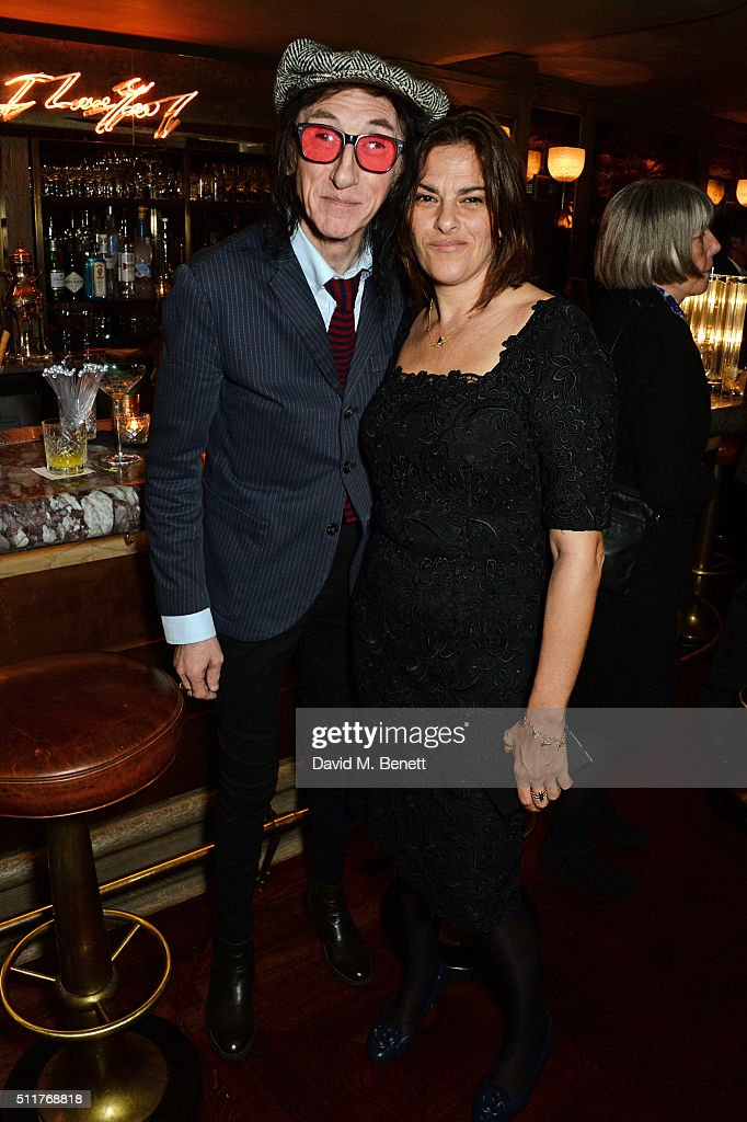 John Cooper Clarke (L) and Tracey Emin attend the launch of Tracey Emin and Stephen Webster's new jewellery collection 'I Promise To Love You' at 34 Grosvenor Square on February 22, 2016 in London, England.