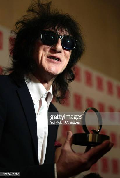John Cooper Clarke with his Poet Laureate award at the Q Awards at Grosvenor House Hotel Park Lane central London