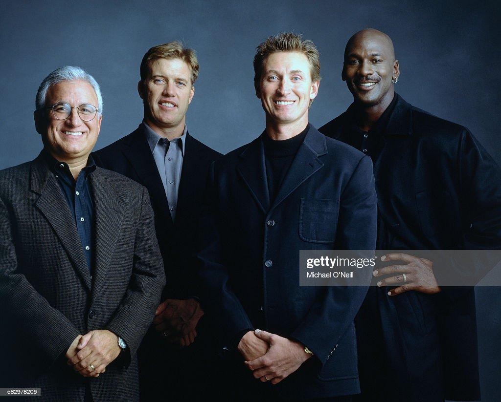 John Costello, John Elway, Wayne Gretsky and Michael Jordan