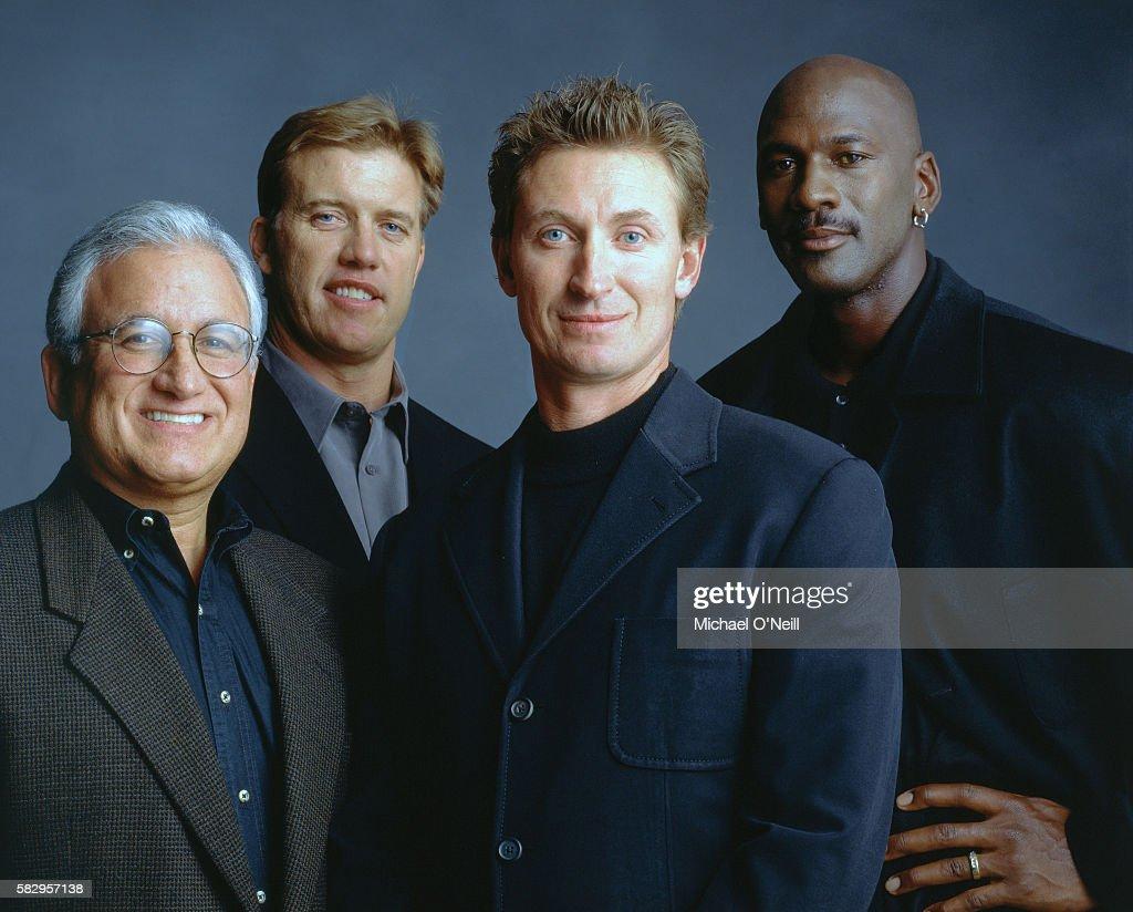 John Costello, John Elway, Wayne Gretsky and Michael Jordon