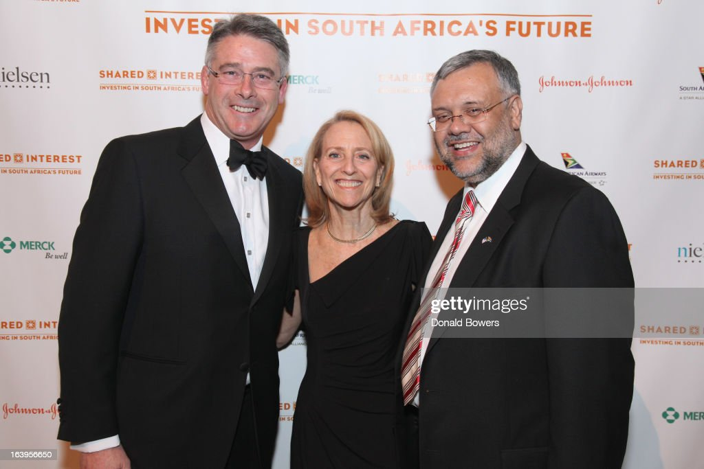 John Coulter, Executive Director of Shared Interest Donna Katzin, and Ebrahim Rasool attend the Shared Interest 19th Annual Awards Gala on March 18, 2013 in New York City.