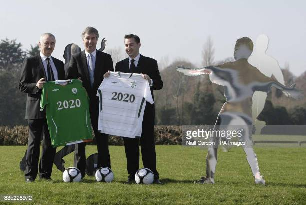 John Courtney MD of Umbro and John Delaney CEO of the Football Association of Ireland and Johathan Courtney Director of football for Umbro announce a...