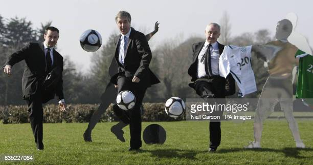 John Courtney MD of Umbro John Delaney CEO of the Football Association of Ireland and Jonathan Courtney Director of football for Umbro announce a 256...