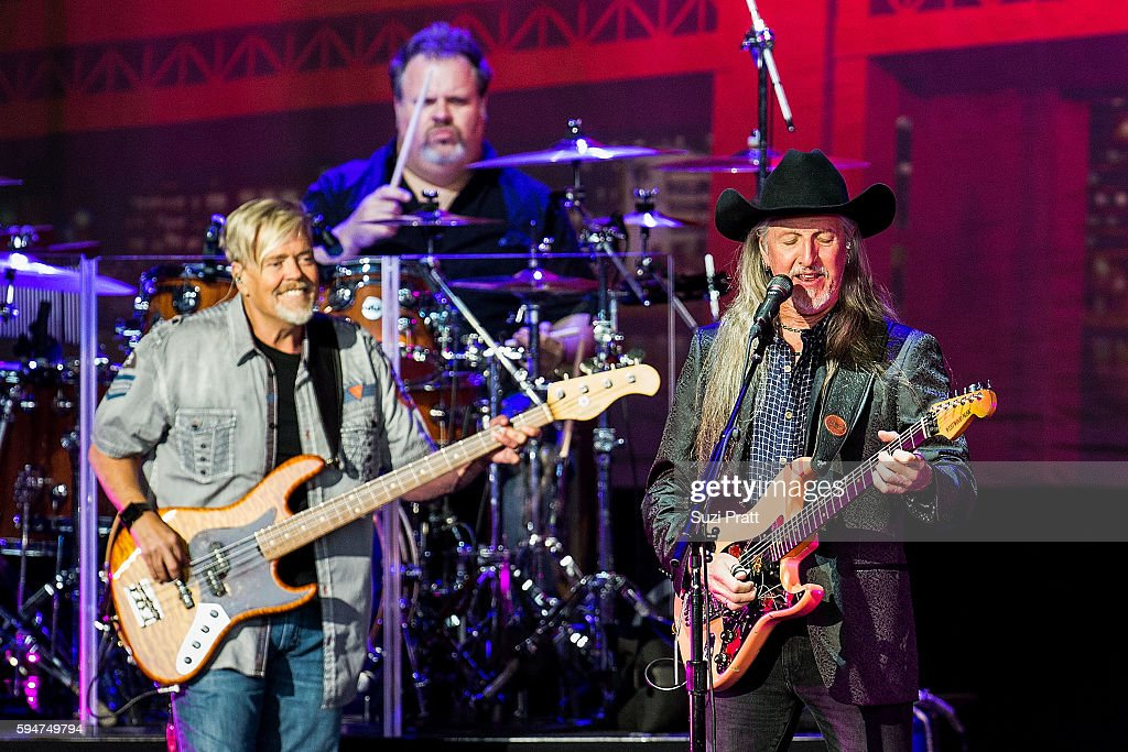 John Cowan Ed Toth and Patrick Simmons of The Doobie Brothers perform at White River Amphitheatre on August 23 2016 in Auburn Washington