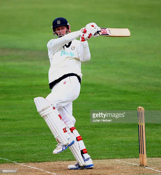 John Crawley of Hampshire hits out during The Division One LV County Championship match between Hampshire and Lancashire at The Rosebowl on August 6...