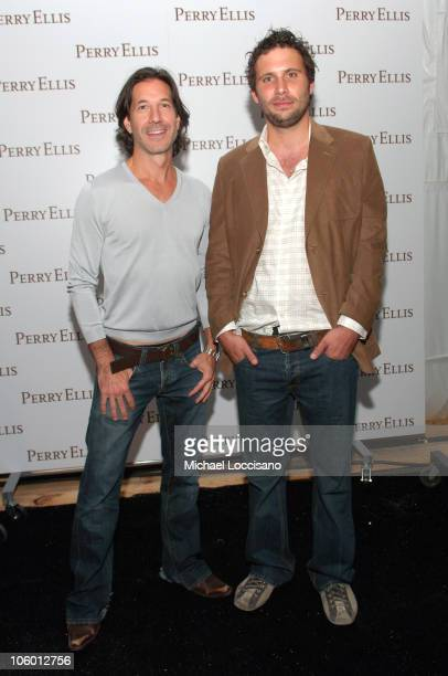 John Crocco designer with Jeremy Sisto during Olympus Fashion Week Spring 2007 Perry Ellis Front Row and Backstage at The Promenade Bryant Park in...