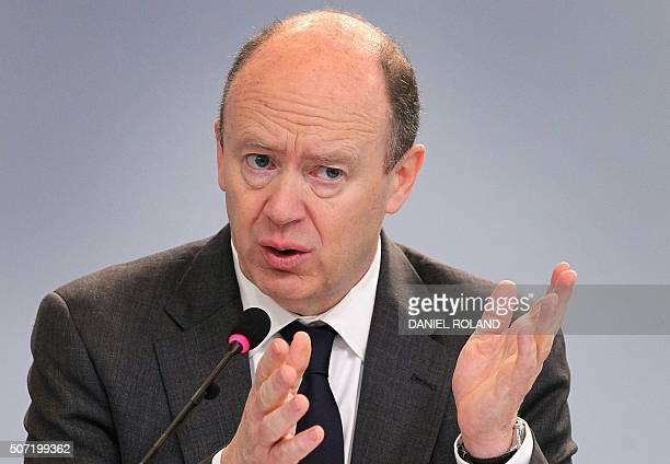 John Cryan CoCEO of the Deutsche Bank addresses the media during the company's annual press conference in Frankfurt/Main Germany on January 28 2016...