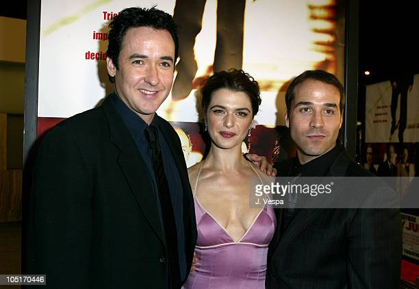 John Cusack Rachel Weisz and Jeremy Piven during 'Runaway Jury' Los Angeles Premiere Red Carpet at Cinerama Dome in Hollywood California United States