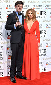 John Dagleish and Kimberley Walsh in the winners room at The Olivier Awards at The Royal Opera House on April 12 2015 in London England